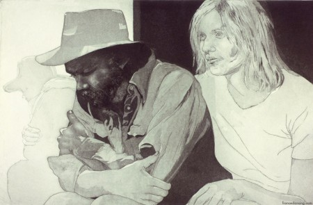 Yates and Frances ;cm. 50x32, etching, 1975