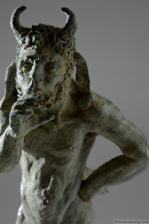 Pan shhh; cm. 4x18x23, bronze, 2008