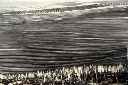 Burn field, 45x30 cm., ink wash, 1976