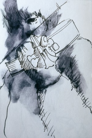 Yates Violin, 13x20 cm., ink, 1982